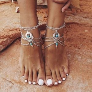 BOHO Turquoise/Silver Barefoot Sandal Anklets